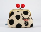Metal frame coin purse with color bobble - Samber deer in black and white - Color dad / Red eyeglasses / Echino 10th anniversary / Geek Boho
