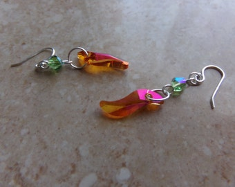 Pink Orange And Green Swarovski Earrings. Swarovski Wave Bead. Spring & Summer