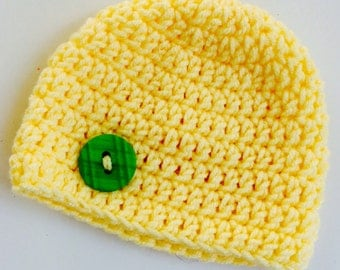 Newborn girl 0-3 months baby hat beanie yellow boy infant hat baby photo prop Ready To Ship