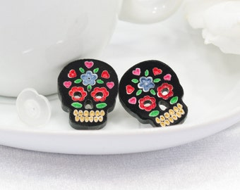 Multicolor Red and Blue Hand-Painted Black Sugar Skull Post Earring
