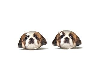 Brown & White Pekingese Stud Earrings / Pekingese earrings / pet memorial / dog earrings / tiny earrings / dog lover / dog gift /A025ER-D52
