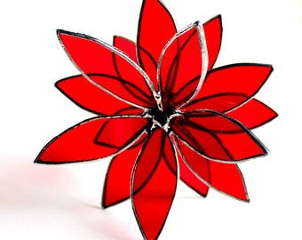 3D Stained Glass Suncatcher - In Full Bloom Cherry Red Flower