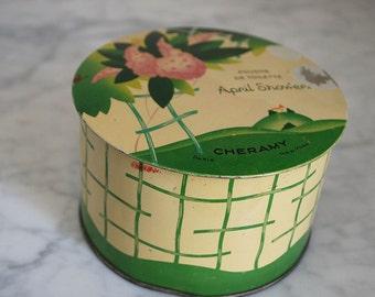 Vintage Face Powder Tin Art Deco Metal Container Cosmetics Beauty Cheramy April Showers Flowers Pochoir Storage