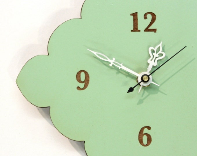 tiny scallop clock - kitchen clock - bathroom clock - mint green