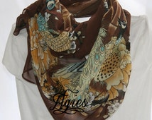 Slim Size Chiffon Scarf Light Blue Turquoise Tan Mint Green White on Chocolate Brown Peacocks Cherry Blossom -Novelty Fashion Accessory