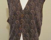 Vintage 70s 80s cotton angora sweater vest, unisex paisley print sweater vest, preppy retro button front vest, made Italy vest, navy vest