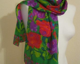 Vintage 80s bright happy flowers narrow silk scarf, red purple green flowers patterns Liz Claiborne scarf, long narrow silk scarf