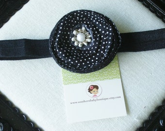 INVENTORY BLOWOUT SALE---Boutique Baby Girl Toddler Flower Headband-----Black Dots-----Photo Prop