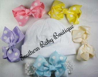 NEW----Boutique Hospital Pictures Baby Girl Knit Beanie Cap with Hairbow Clips 7 Pc Set----Chic Baby----Fits 0-6 Months----FREE SHIPPING