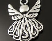 Antique Silver Cute Double Sided Angel Charms, Approximately 19x15x2mm, Pack Of 10