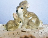 Vintage Gray Ceramic Bunny Rabbits Mama and Baby - Hand Painted Pottery Bunnies - China Bunny Miniatures - Mother and Baby Rabbits - SWEET