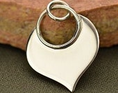 Sterling Silver Lotus Blank Pendant Charm,  Personalize Stamping Disc,  22x15x 1mm thick, (18ga)  1 pc