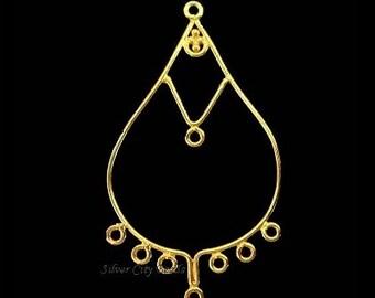 Vermeil Chandeliers 2 Pcs,  24k Bali Chandelier Earrings 41x25x1mm