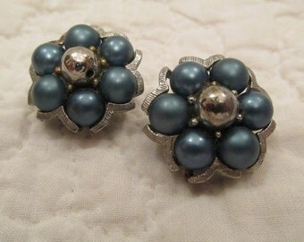 Vintage Clip Earrings Blue and silver tone metal SALE