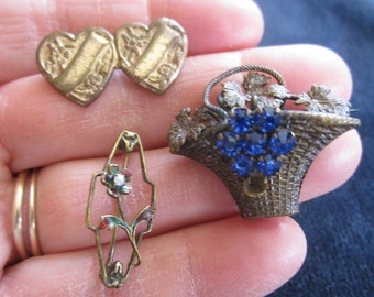Antique Victorian Edwardian Lot of 3 Brooch Findings for Repair or Assemblage