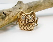 Owl Ring, Statement Ring, Bronze Owl Jewelry, Bronze Ring, Cocktail Ring, Stretch Band Ring, Rhinestone Ring, Stretch Ring