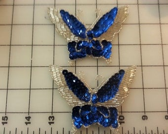 Pair of Royal Blue and Silver Butterfly Sequin and Bead Motifs