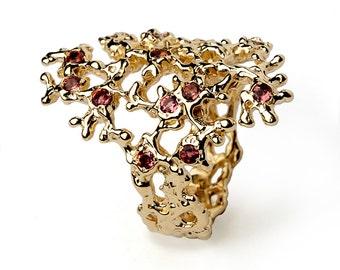 SEA SPRAY 14k Gold Tourmaline Ring, Pink Tourmaline Ring, Gold Statement Ring, Dainty Gold Ring, Italian Fine Jewelry