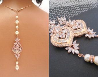 Rose Gold Wedding necklace Set, Crystal Bridal Earrings, Rose gold jewelry, Rose Gold Earrings, Bridal jewelry SET, Wedding necklace, EMMA