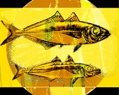 Yellow Fish Art  Digital Print Wall Decor Aquatic Nautical Wildlife Lake Texoma Water Swimming Wall Hanging Home Decor Giclee Print 12 x 12