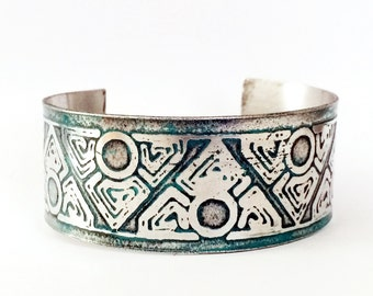 Aluminum Cuff, Geometric Bracelet