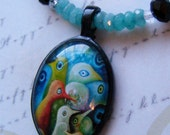 Spring Birds-stone and glass necklace with pendant, 18 1/2 inches or 47 cm