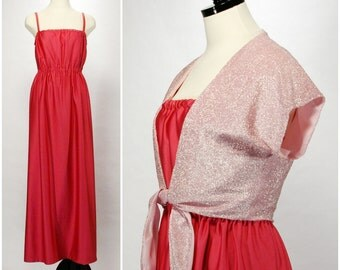 Vintage Pink Sundress Dress with Metallic Shrug, Two Piece Dress with Pink Bolero Jacket, Pink Maxi Gown Handmade Vintage Dress Set