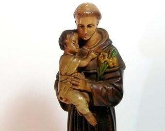 Saint Anthony Religious Statue Chalkware Figurine
