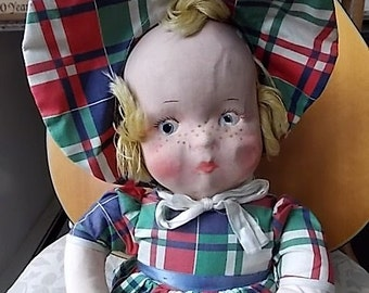 Vintage Gund  Molded Face  Doll Fannie Freckles Shabby and Sweet