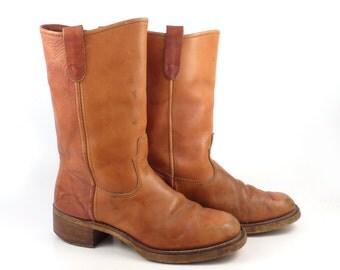 Campus Leather Boots Vintage 1970s Carmel Orange brown Cowboy Men's size 9 D