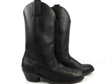 Cowboy Boots Vintage 1980s Black Leather Western Men's size 10 M