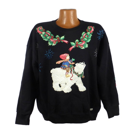 Ugly Christmas Sweater Vintage Sweatshirt Ho Made Puffy Paint