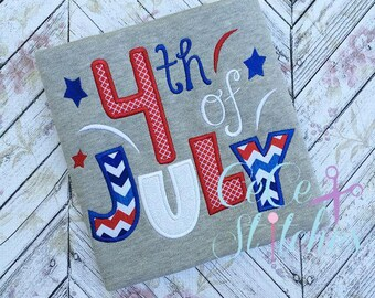 4th of July Embroidery Applique Design