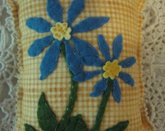 Pincushion Primitive style Handmade of plaid flannel and wool felt blue flowers