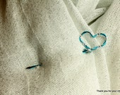 Turquoise Shawl Stick, Scarf Pin, Shawl Pin, Hair Pin, Jewelry Brooch - Turquoise Diamond Cut Wire with Heart