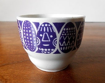 "Vintage ARABIA Finland ""Kauno"" Porcelain Egg Cup, Purple Eggs, Raija Uosikkinen, Miniature / Diminutive / 1.5 in. Tall"