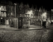 Night Street - Edinburgh, Scotland #1 - Silver Art Print, Wall Art, Photography, Wall Decor