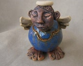 Whimsical handbuilt clay pottery angel container