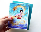Dragon Girl - cute blank greeting card with envelope - tattooed geisha