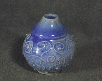 Vase, ceramic, blue, one of a kind, gifts under .30