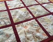 Baby Quilt Size 39 x 51 Pattern Floral Red