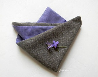 Double sided pocket square. Reversible handkerchief.  Made in Italy. Men accessories. Periwinkle and taupe