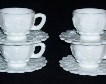 4 Westmoreland Paneled GRAPE White Milk Glass Cups & Saucers
