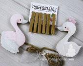 Swan Princess Fairytale Girls Wooden Wall Art DISPLAY CLIPS for Kids Bedroom Baby Nursery Playroom AC0039