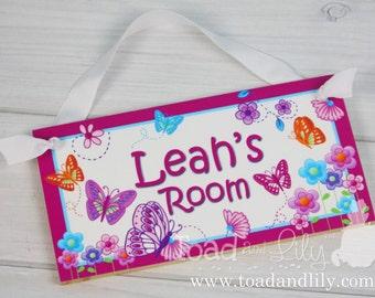 Girls Bedroom Baby Nursery Hot Pink Delicious Butterfly DOOR SIGN DS0057