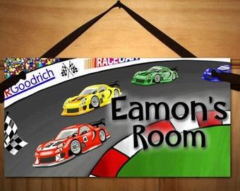 Personalized Kids DOOR SIGN Boys Bedroom Name Plaque Racing Race Cars Door Sign Wall Art Decor Personalized Name Hanger DS0023