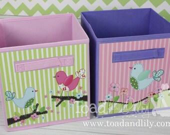Set of 2 Sweet Little Birdies Fabric Bins Girl's Bedroom Baby Nursery Organizer for Toys or Clothing 2FB002