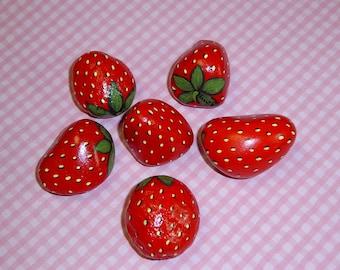Red strawberries-bird deterrent-kitchen decor-hand painted rocks-ooak 3D garden art-outdoors garden patio planters-gifts for the gardener