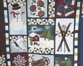 Quilted  cozy lap quilt Christmas wall hanging sofa throw blanket Winter applique sampler   Snowman Quiltsy handmade