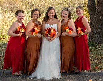 USA, Copper and Red dress, maxi dress, FLOOR length, infinity dress, convertible dress